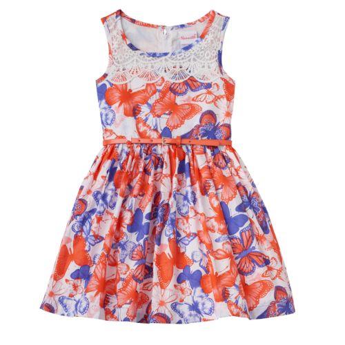 Girls 4-6x Nannette Mesh Dot Floral Dress with Belt