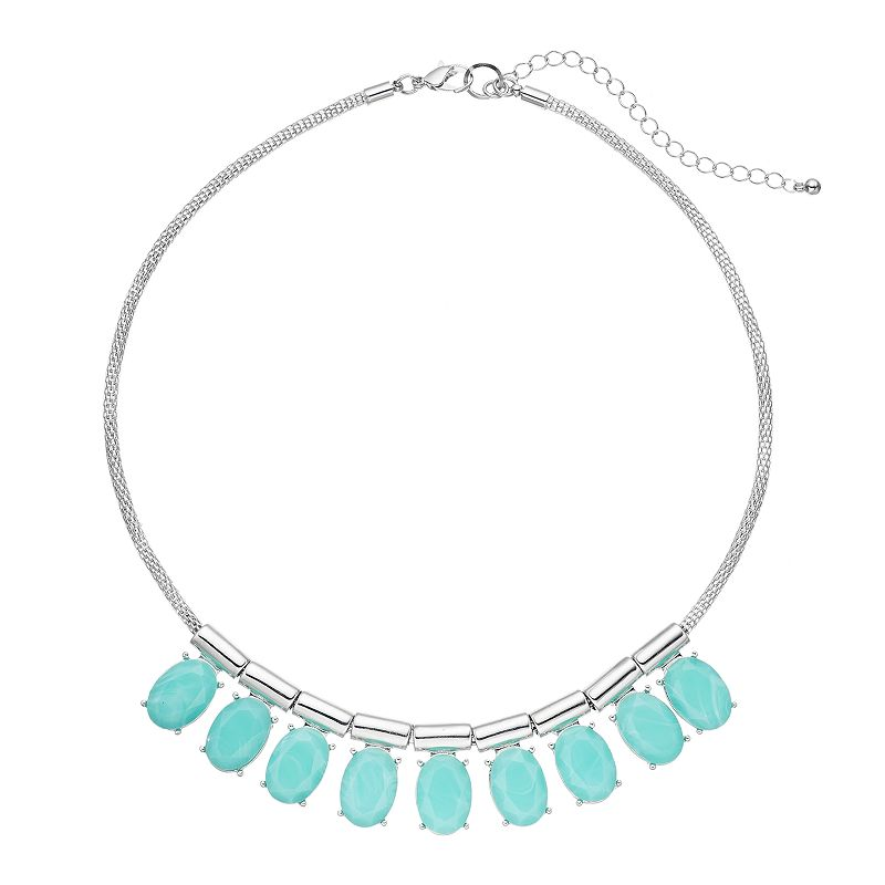 Aqua Faceted Oval Mesh Collar Necklace