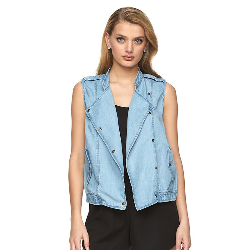 Women's Juicy Couture Asymmetrical Faux-Denim Vest