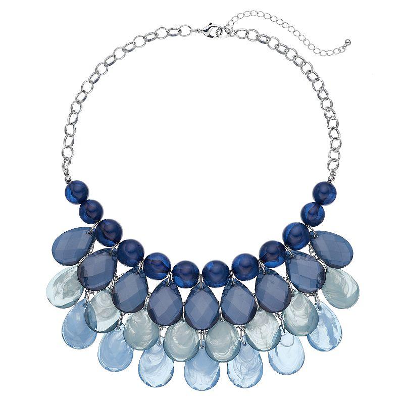 Blue Teardrop Beaded Bib Necklace