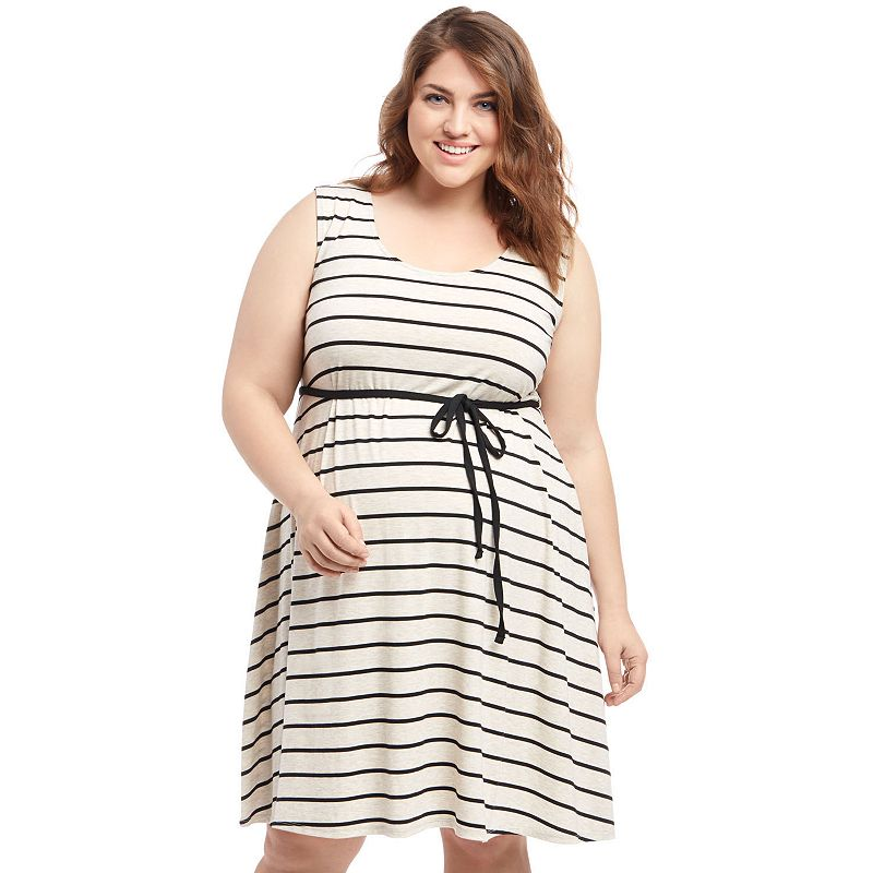 Plus Size Maternity Oh Baby by Motherhood™ Striped Tank Dress