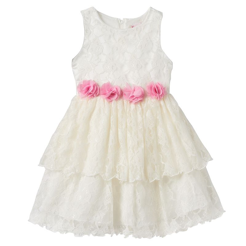 Girls 4-6x Nannette Tiered Floral Lace Rosette Dress