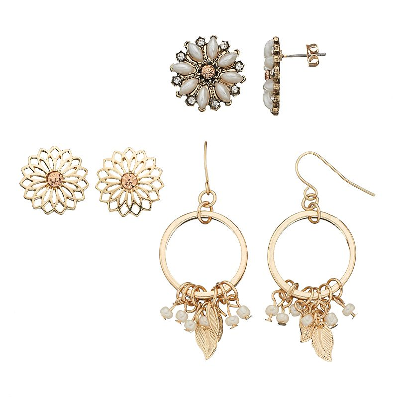 Mudd® Flower Stud & Leaf Drop Hoop Earring Set