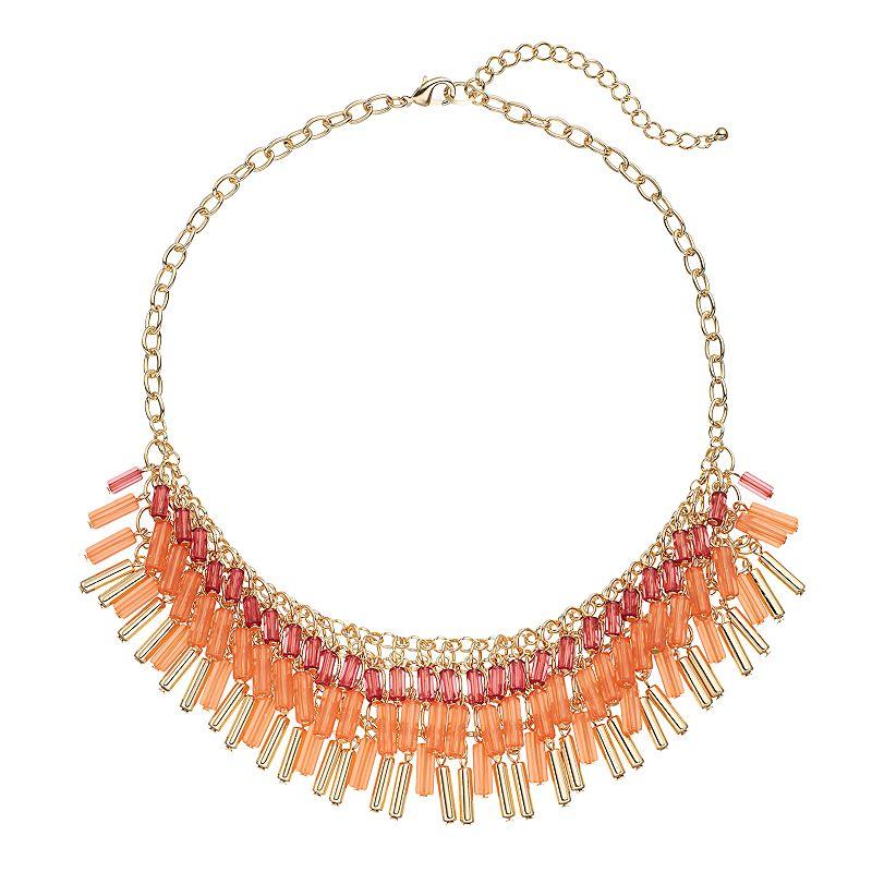 Pink Bugle Bead Bib Necklace