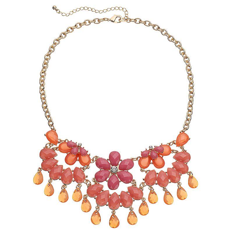Teardrop Flower Bib Necklace