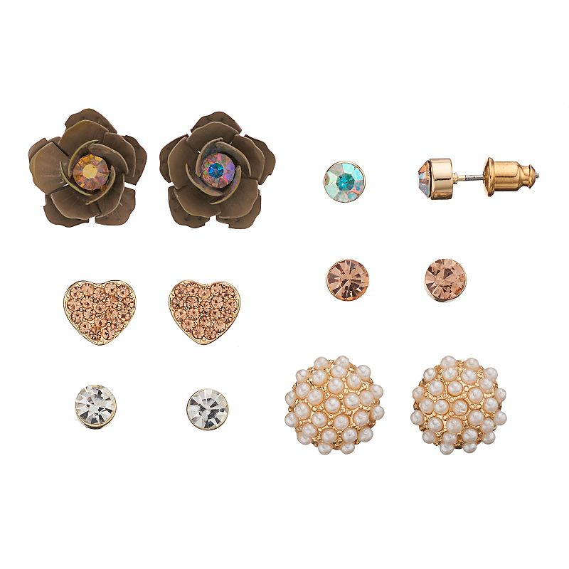 Mudd® Flower & Heart Stud Earring Set