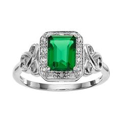 RADIANT GEM Sterling Silver Simulated Emerald Halo Ring