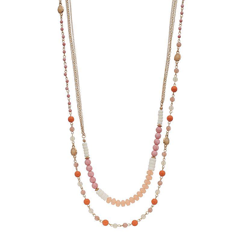 Long Beaded Multi Strand Necklace
