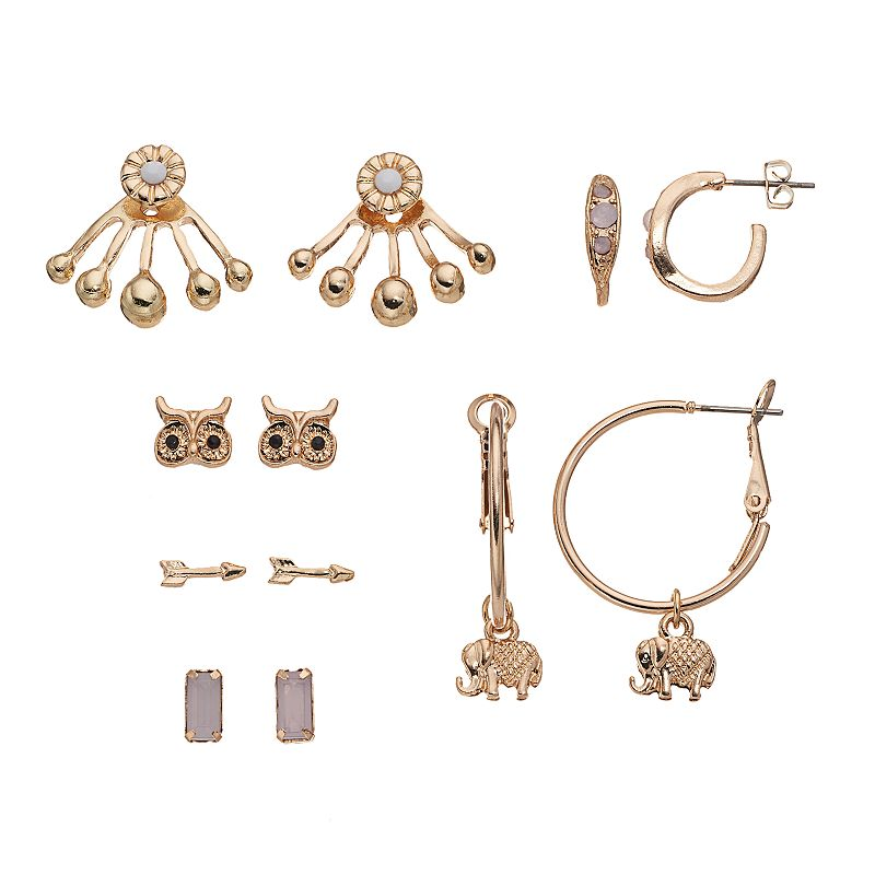 Mudd® Elephant & Owl Earring Set
