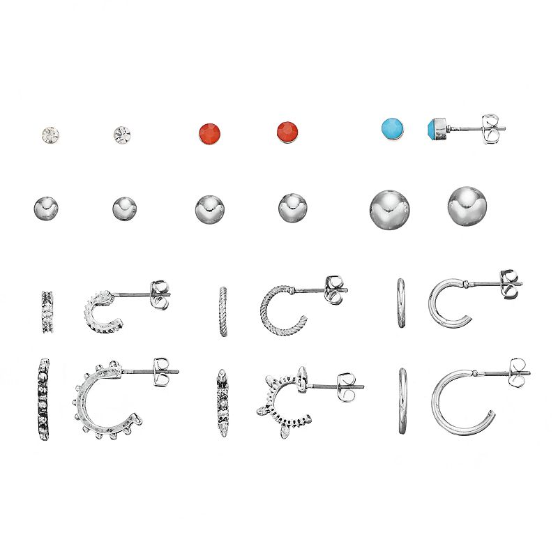 Mudd® Stud & Semi-Hoop Earring Set