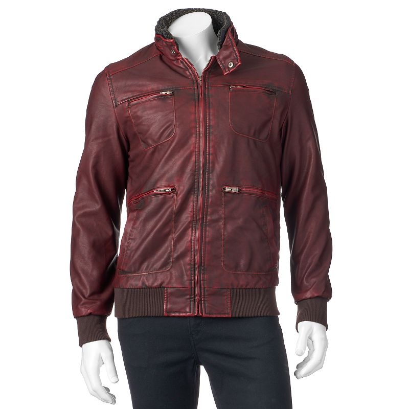 Men's XRAY Slim-Fit Faux-Leather Bomber Jacket