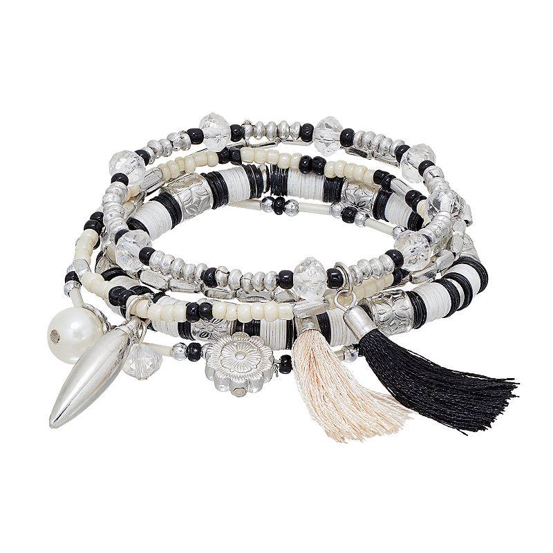 Mudd® Beaded Tassel & Flower Charm Stretch Bracelet Set