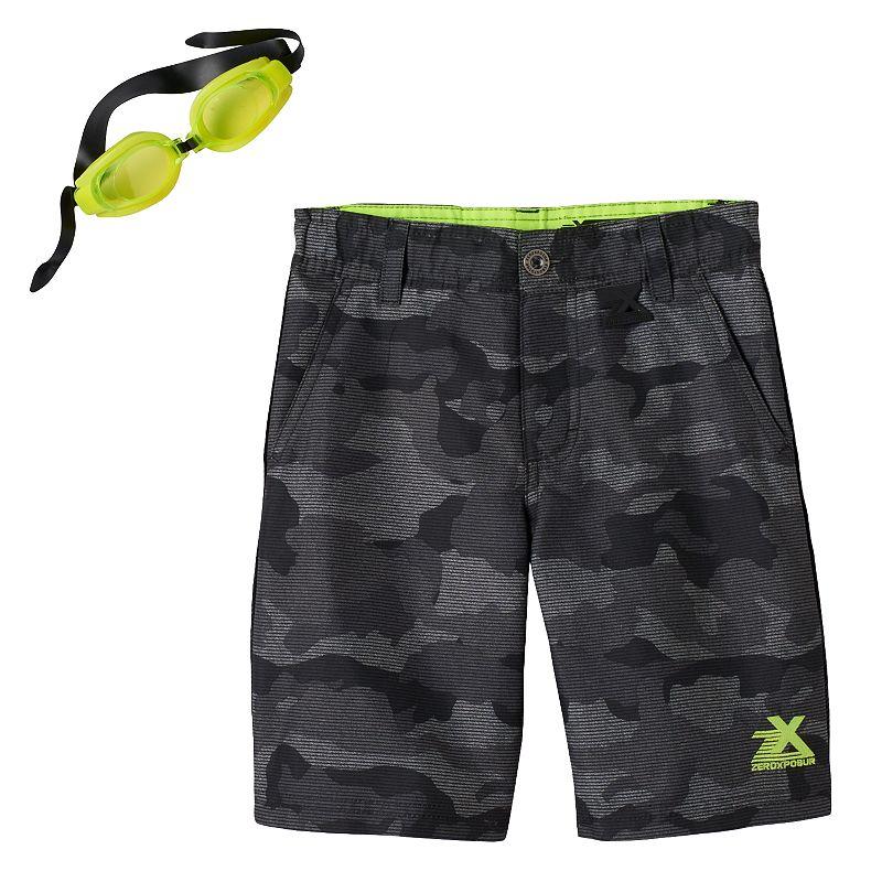 Boys 4-7 ZeroXposur Printed Swim Trunks with Goggles