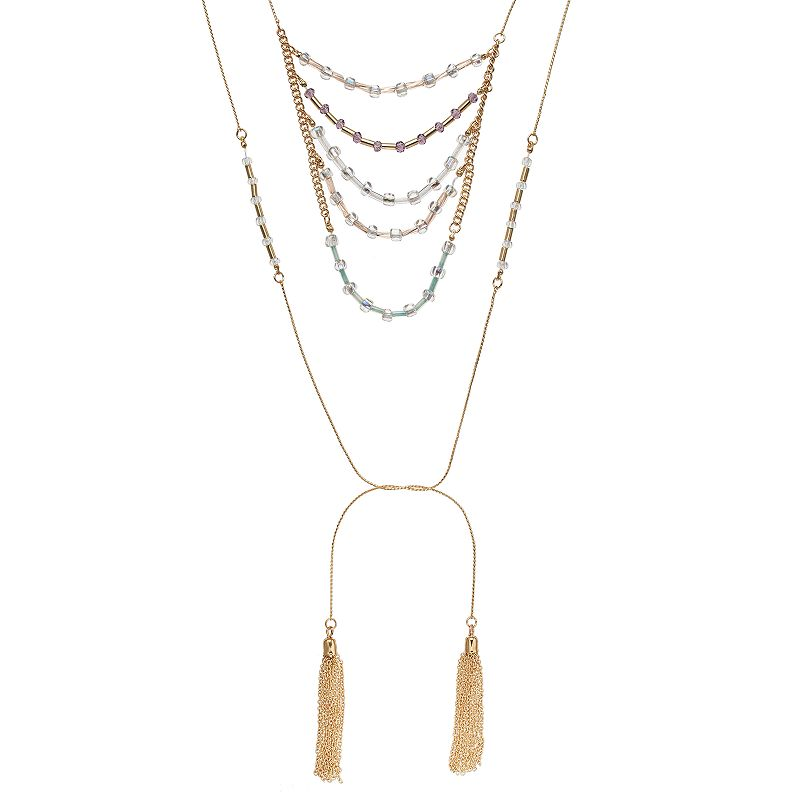 Mudd® Beaded Swag Free-Hanging Chain Tassel Necklace