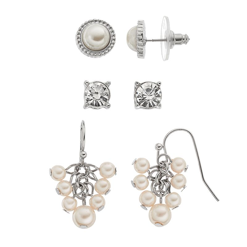Croft & Barrow® Simulated Pearl & Simulated Crystal Earring Set