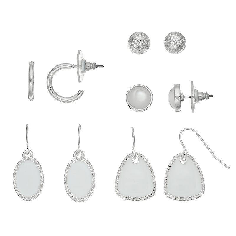 White Hoop, Stud & Drop Earring Set