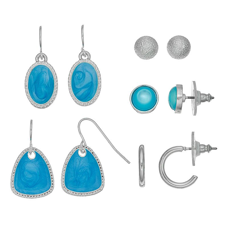 Blue Hoop, Stud & Drop Earring Set