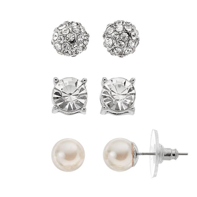 Croft & Barrow® Simulated Crystal & Simulated Pearl Stud Earring Set