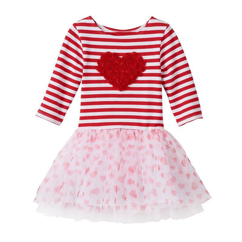 Toddler Girl Marmellata Classics Striped Valentine's Day Tutu Dress