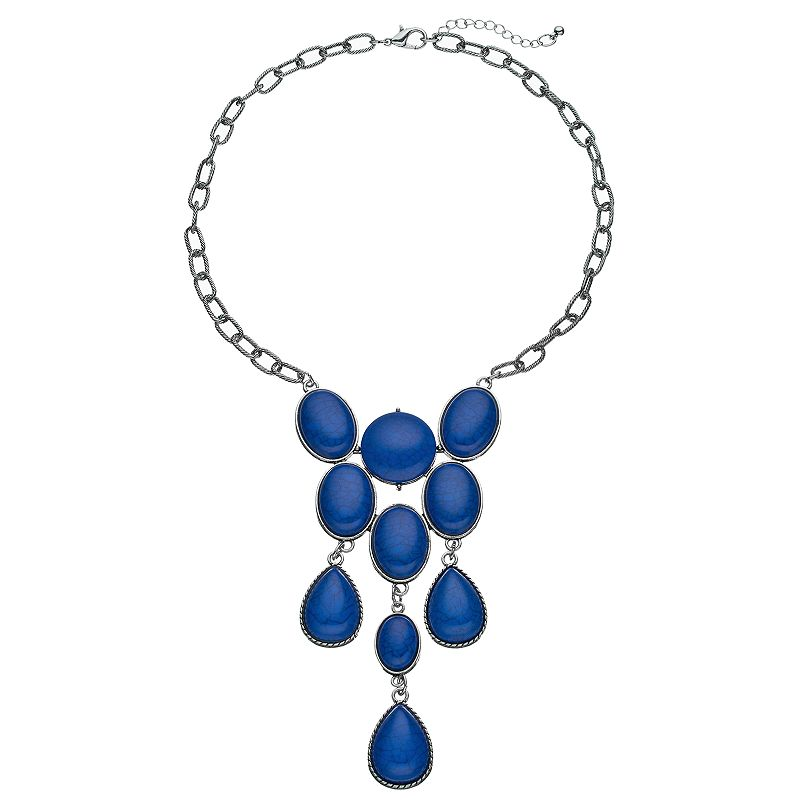 Blue Oval & Teardrop Cabochon Necklace