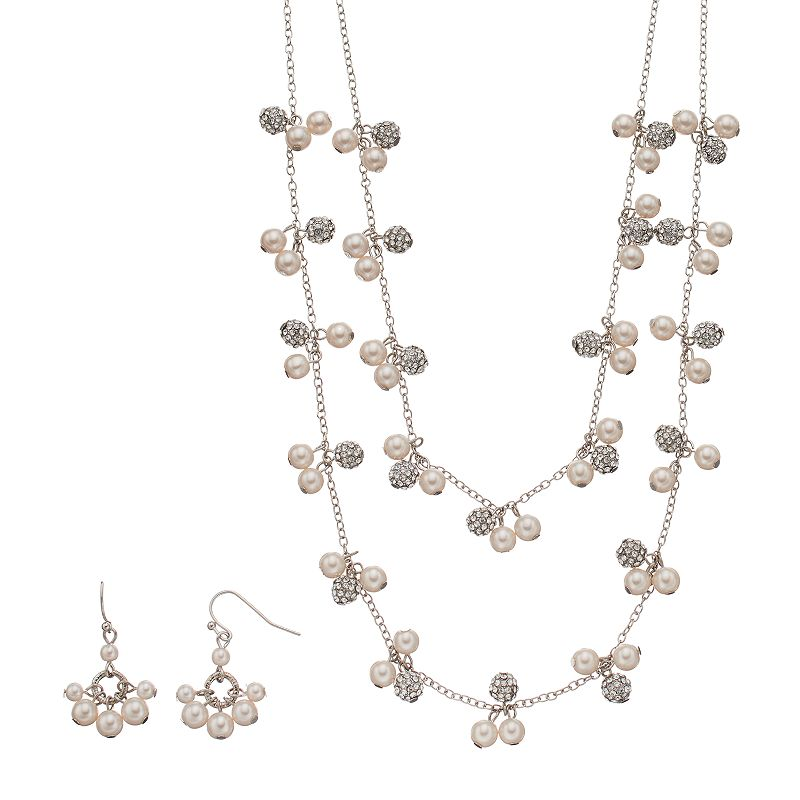 Croft & Barrow® Simulated Pearl Double Strand Cluster Necklace & Drop Earring Set