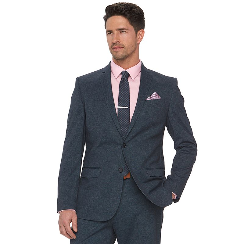 Men's Apt. 9 Knit Blue Heather Slim-Fit Knit Suit Jacket