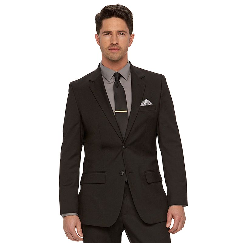 Men's Apt. 9 Plain Weave Black Slim-Fit Suit Jacket