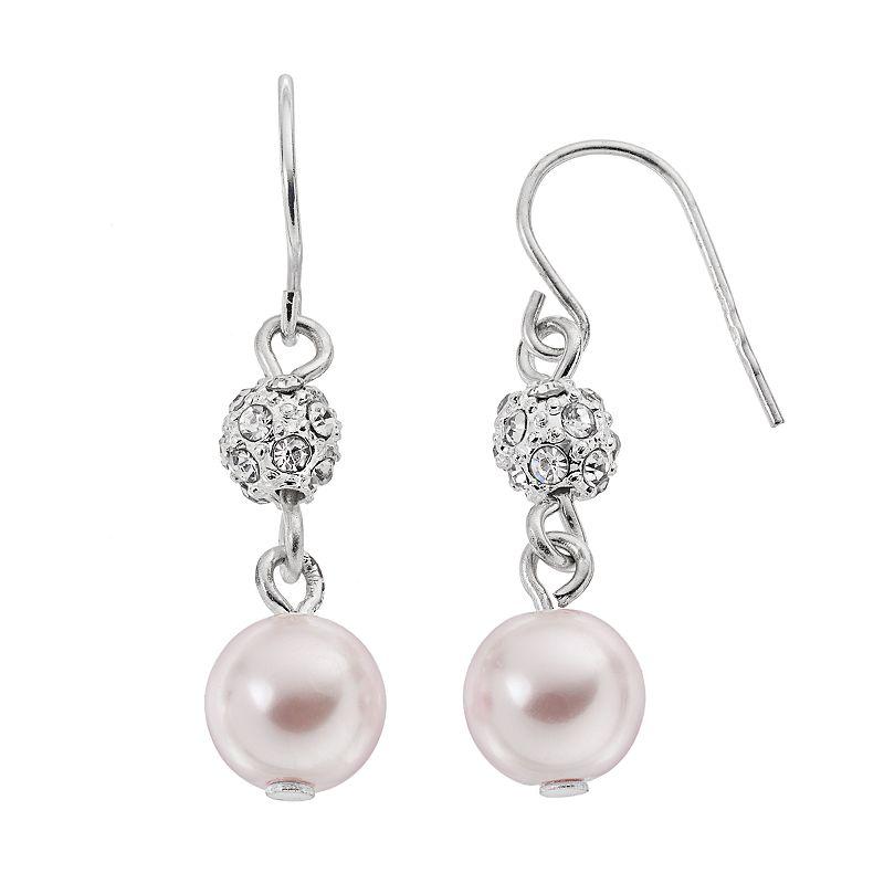 Croft & Barrow® Pink Simulated Pearl Fireball Drop Earrings