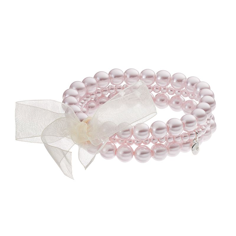 Croft & Barrow® Pink Simulated Pearl Bow Multi Strand Stretch Bracelet