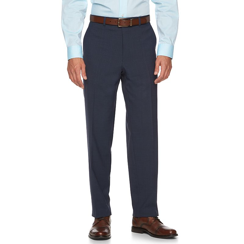 Men's Chaps Classic-Fit Plaid Blue Wool-Blend Performance Suit Pants