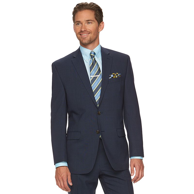 Men's Chaps Classic-Fit Plaid Blue Wool-Blend Performance Suit Jacket