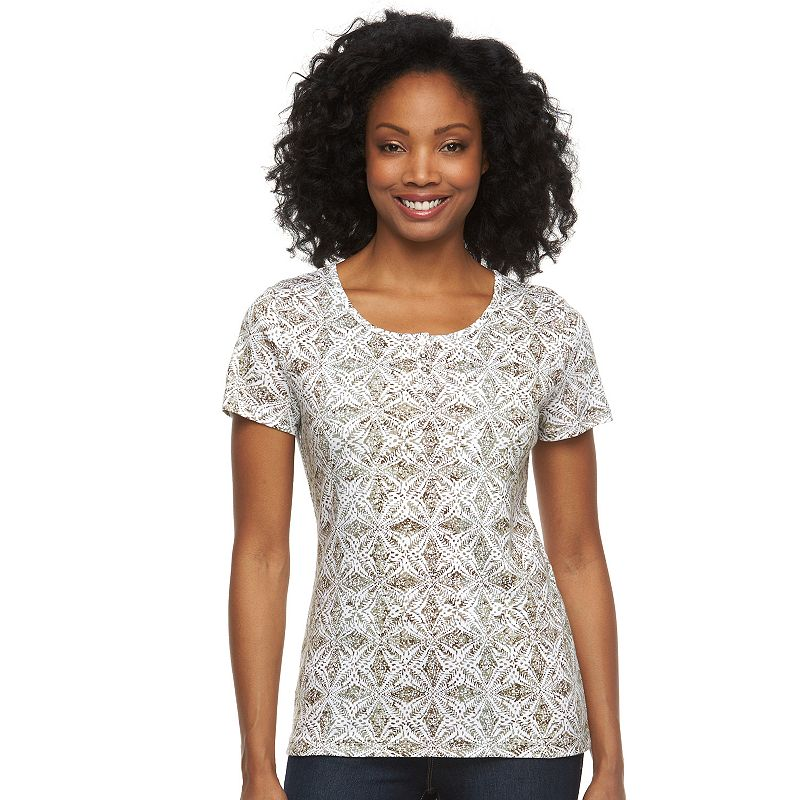 Women's Croft & Barrow® Scoopneck Button-Accent Top