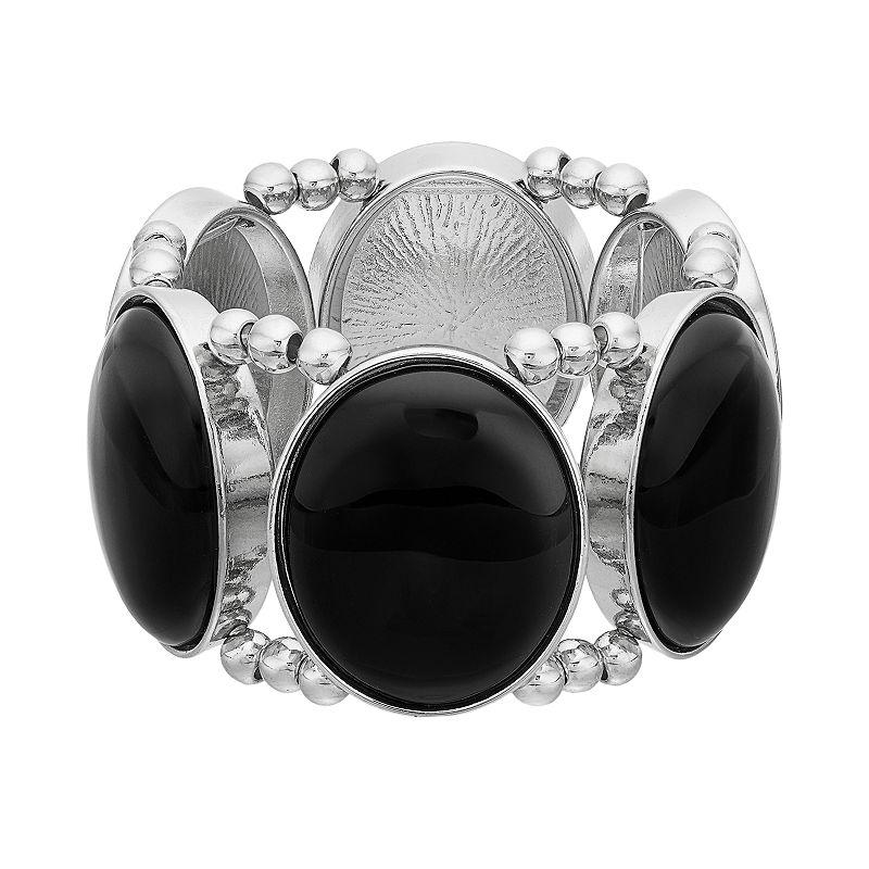 Black Cabochon Stretch Bracelet