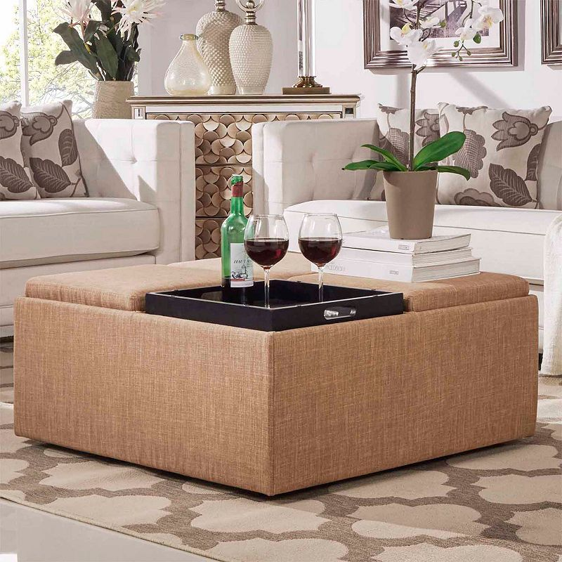 HomeVance Avery Coffee Table & Storage Ottoman