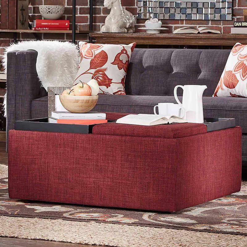 HomeVance Avery Coffee Table & Storage Ottoman