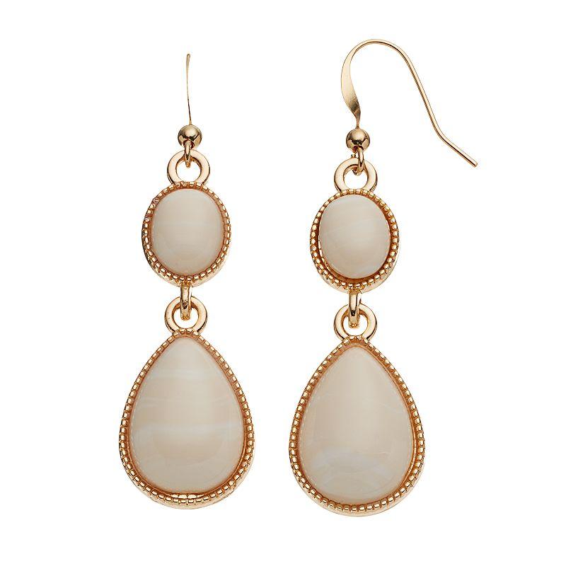 Peach Cabochon Oval Teardrop Earrings