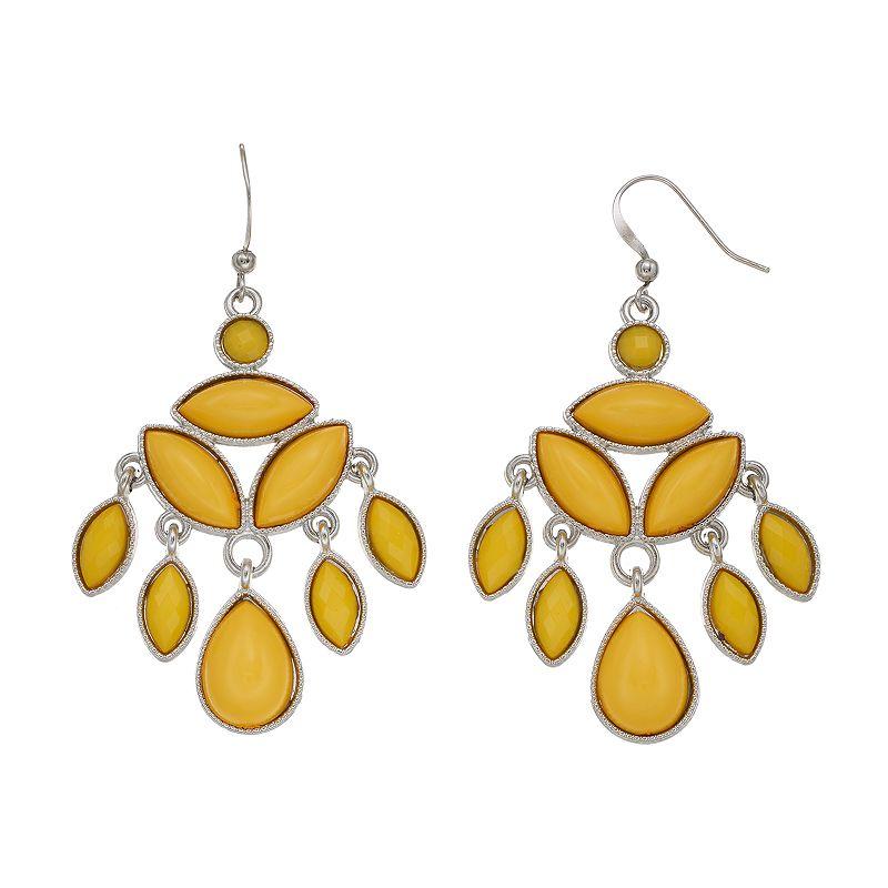 Yellow Cabochon Chandelier Earrings