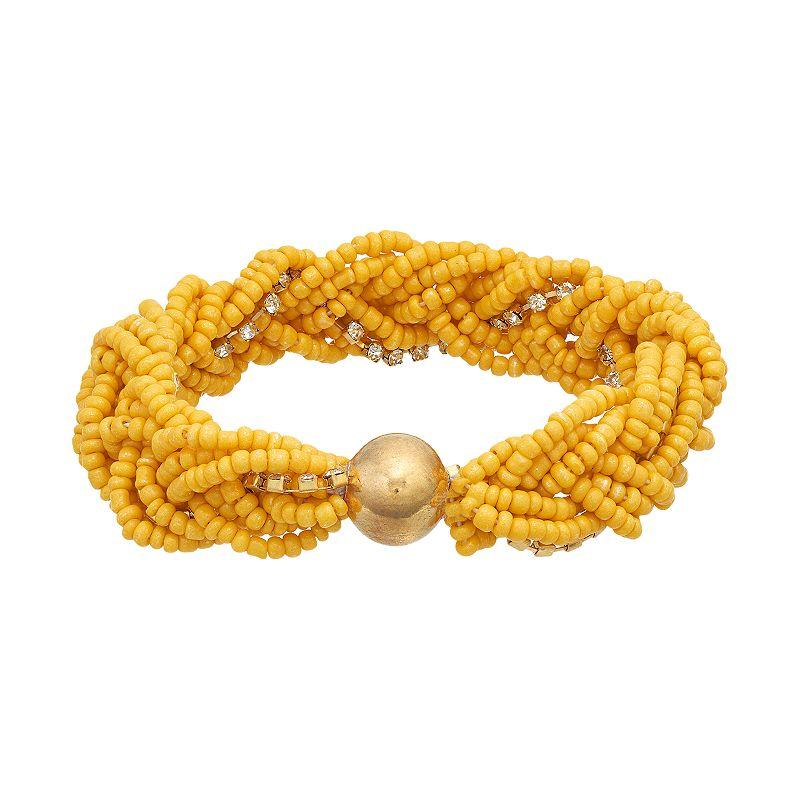 Braided Yellow Seed Bead Stretch Bracelet