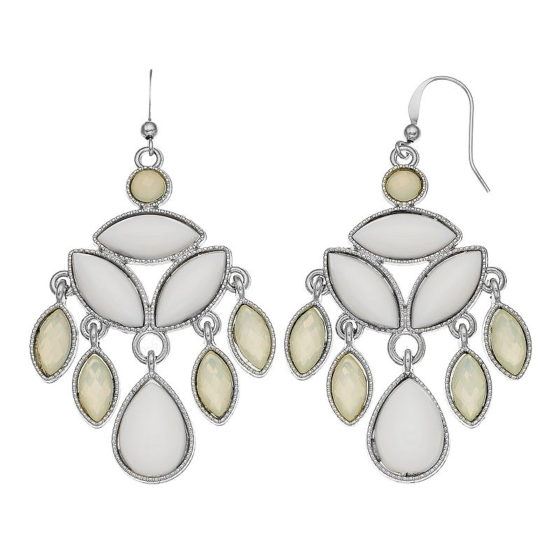 White Marquise Chandelier Earrings