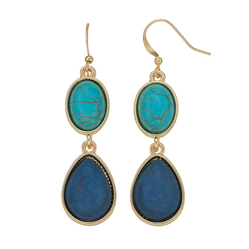 Simulated Turquoise Cabochon Oval Teardrop Earrings