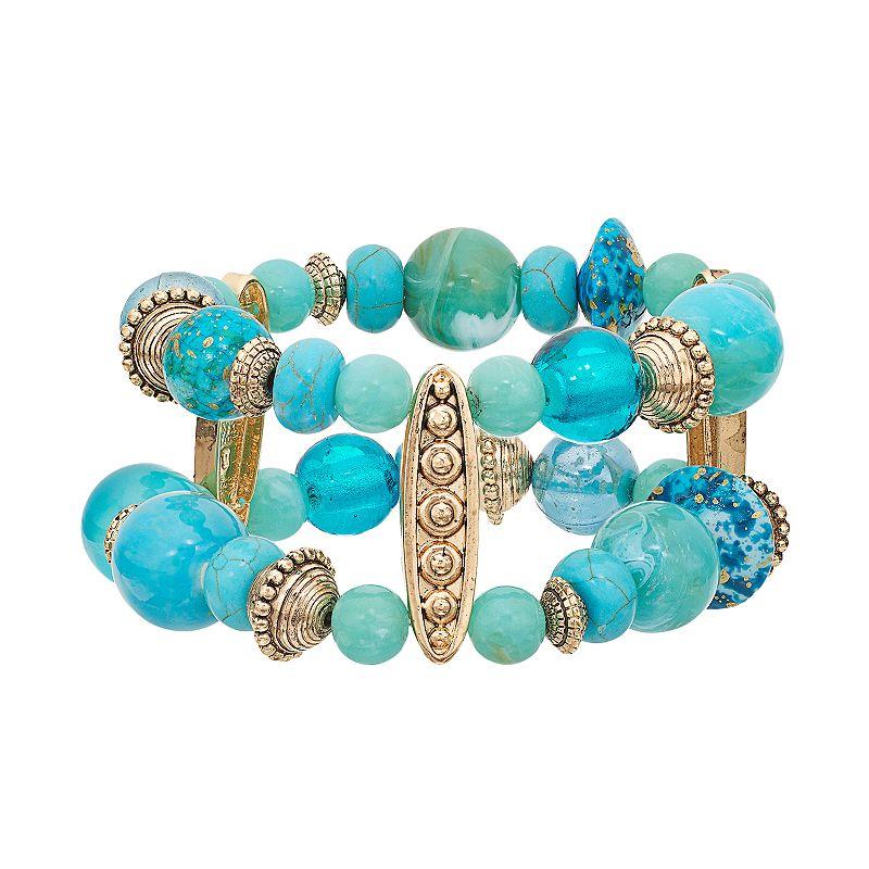 Multi Strand Simulated Turquoise Beaded Stretch Bracelet