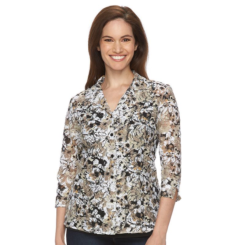 Petite Napa Valley Lace Mock-Layer Blouse