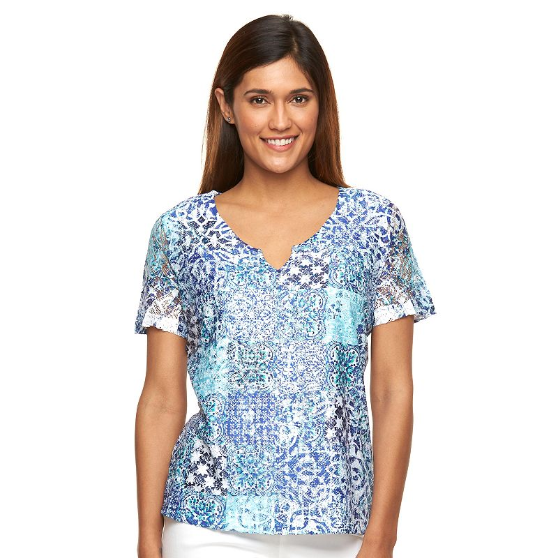 Petite Napa Valley Scroll Lace-Front Top