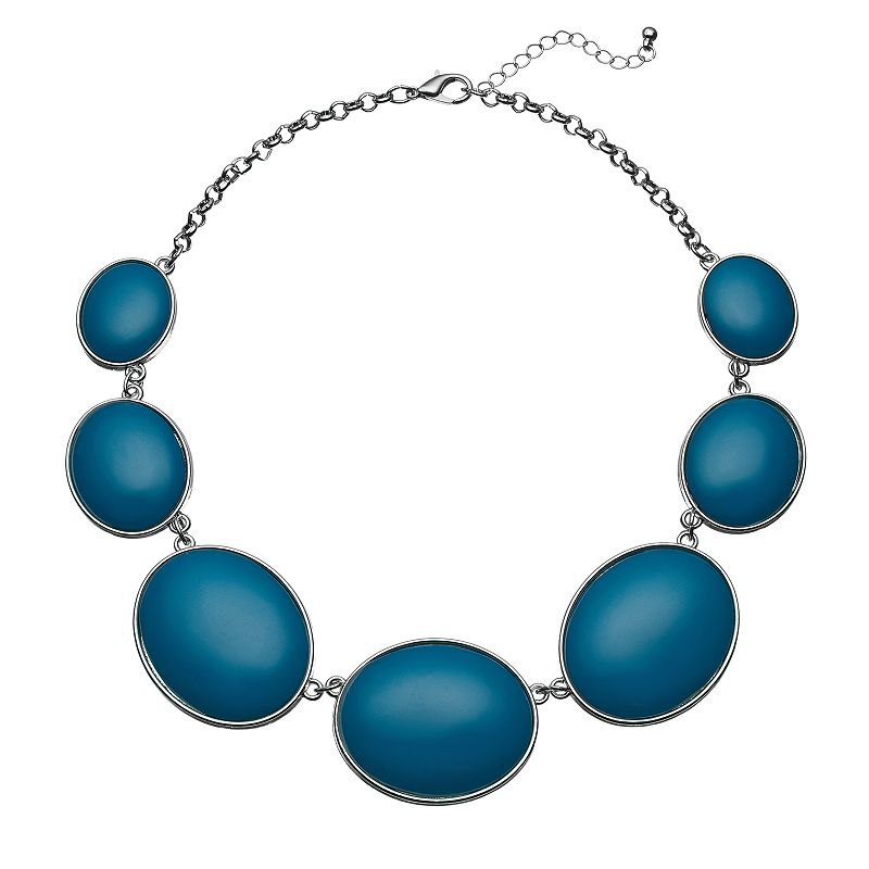 Teal Oval Cabochon Graduated Necklace