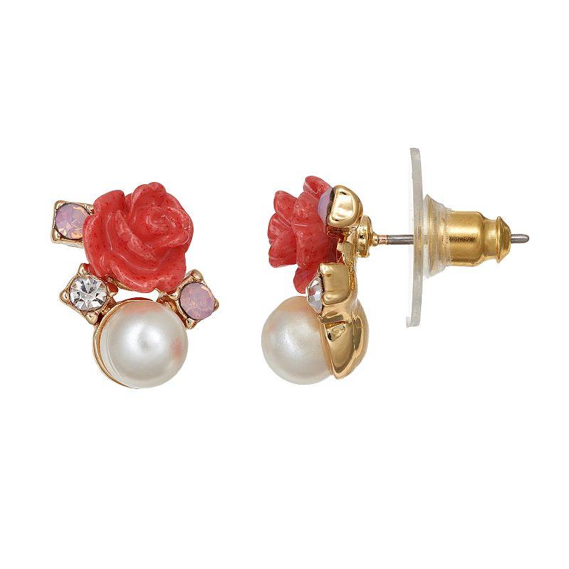 LC Lauren Conrad Red Flower Cluster Stud Earrings
