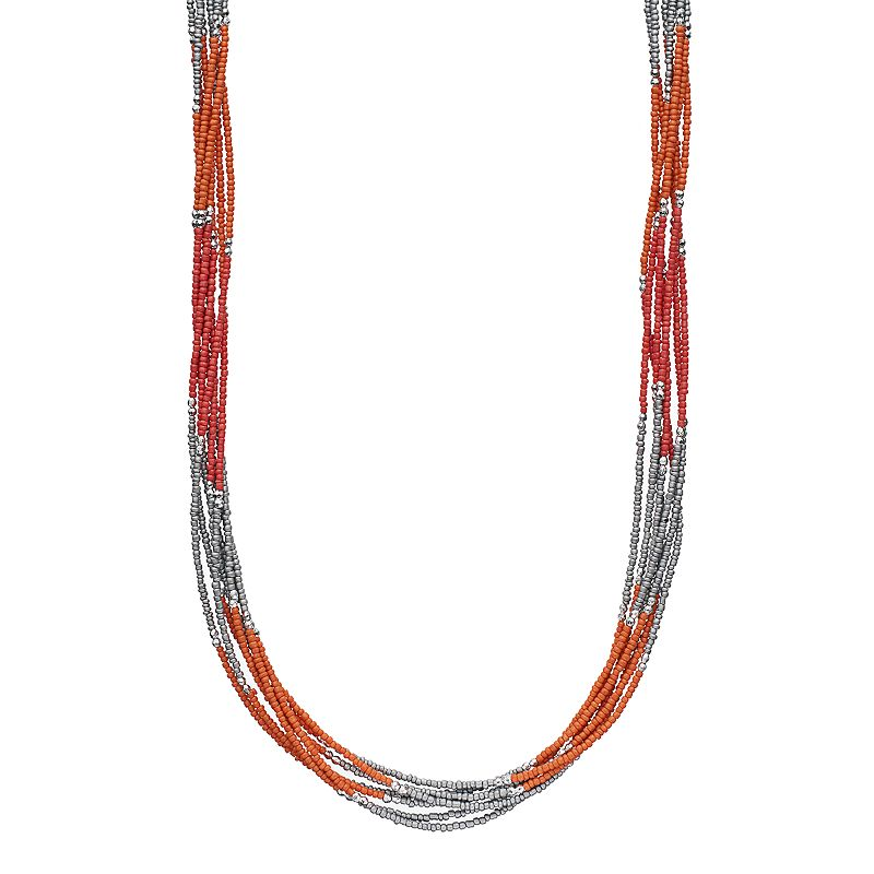 Long Pink Colorblock Seed Bead Multi Strand Necklace