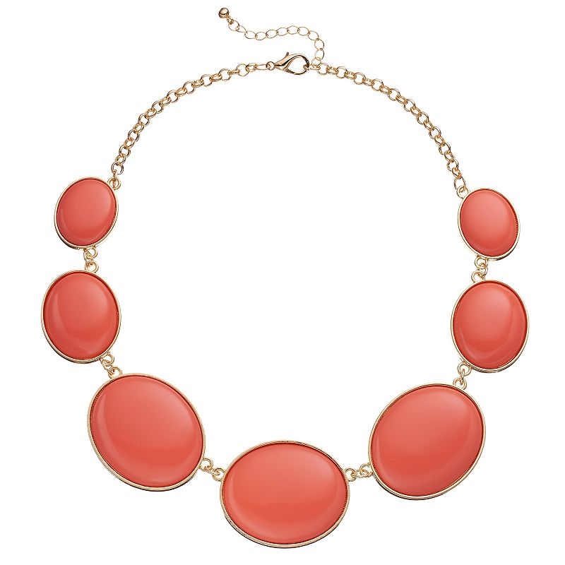 Pink Graduated Oval Cabochon Necklace