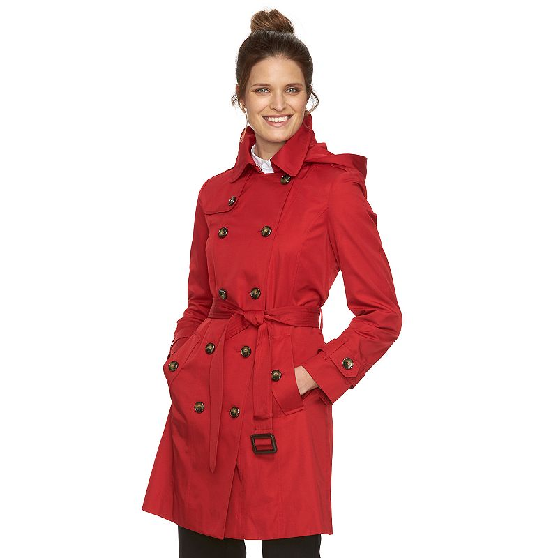 Women's Towne by London Fog Hooded Double-Breasted Trench Raincoat