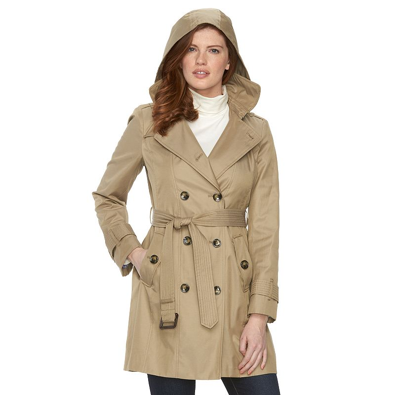 Petite Towne by London Fog Hooded Double-Breasted Trench Raincoat