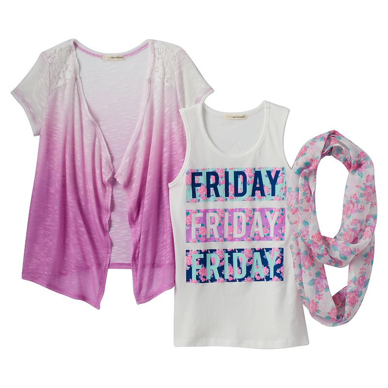 Girls 7-16 & Plus Size Self Esteem Graphic Tank, Ombre Cardigan & Floral Scarf